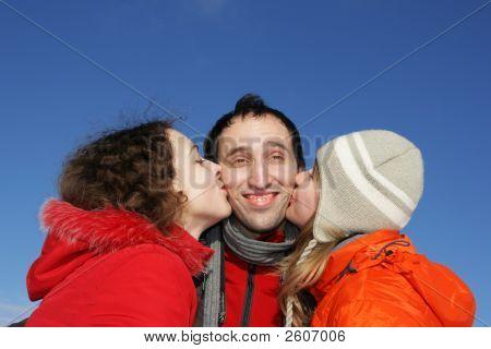 Two Girl Kissing Guy