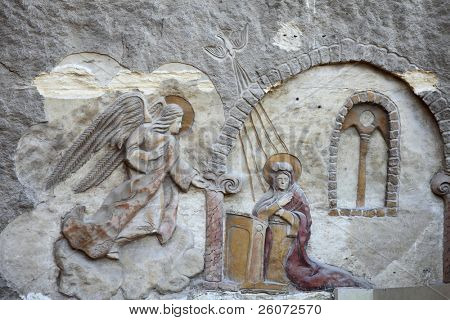 Bas relief from Coptic Church in Cairo, Egypt