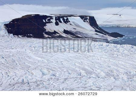 Aerial View of Glaciers (flowing into Arctic Ocean)