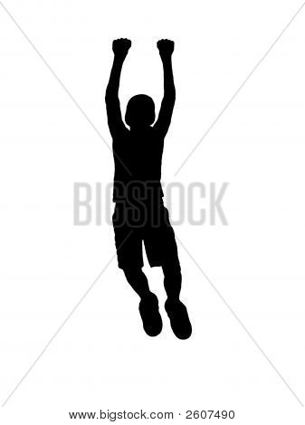 Jumping Silhouette On White.