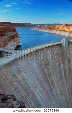 Glen Canyon Dam panorama with Colorado River in Lake Powell at Page, Arizona.
