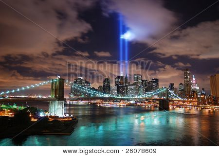 NEW YORK CITY, NY - SEP 2: Light beams are lit at the site in memory of World Trade Center destroyed on September 11. September 11, 2010 in Manhattan, New York City.