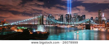 NEW YORK CITY, NY - SEP 11: Light beams are lit at the site in memory of World Trade Center destroyed on September 11, 2001. September 11, 2010 in Manhattan, New York City.