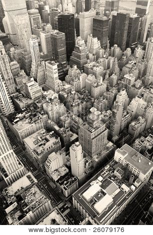 New York City Manhattan skyline aerial view black and white with skyscrapers and street.