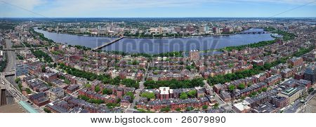 Charles River aerial view panorama with Boston midtown city skyline and Cambridge district.