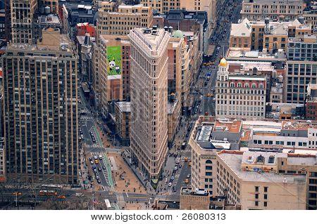 NEW YORK CITY, NY - MAR 30: Flatiron Building aerial view on March 30, 2011 in New York City. Flatiron building designed by Chicago's Daniel Burnham was designated a New York City landmark in 1966.