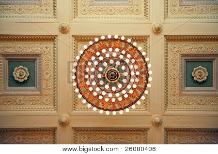 Boston city public library interior with beautiful decoration and ceiling lamp in old fashion style.