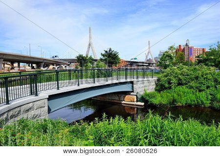 Boston Leonard P. Zakim Bunker Hill Memorial Bridge and North Point Park.
