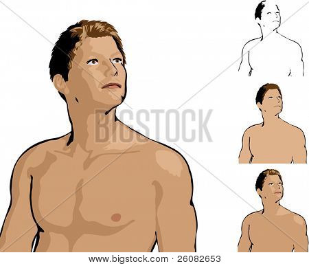 Illustration of an attractive man standing without shirt