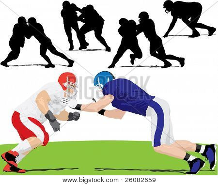 Red vs. Blue American football limemen illustration