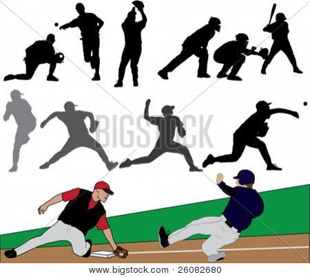 Set of black and color baseball illustrations.