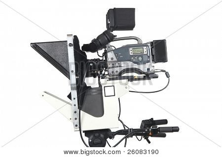 Professional studio Video Camera with teleprompter, Isolated on white.