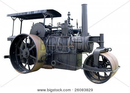 Vintage steam roller isolated on white