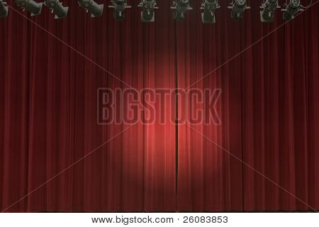 Stage curtains with stage lights and spot light