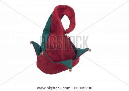 Jester looking christmas hat isolated on white
