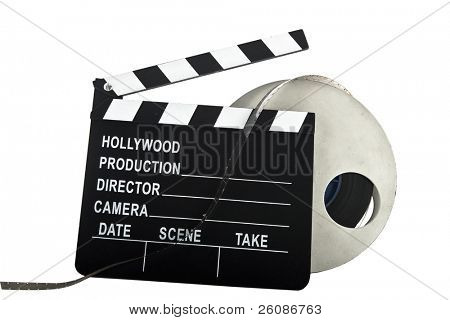 hollywood slate with film reel