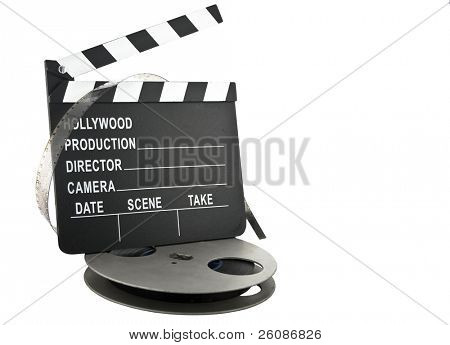 hollywood clapper slate with film reel