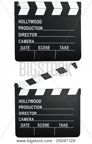 movie camera slate clapper board open and closed.