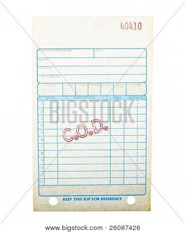 Blank C.O.D. invoice