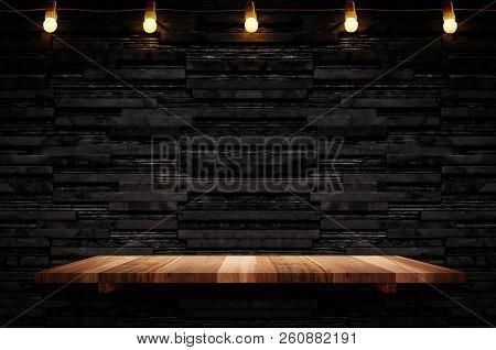 Empty Brown Plank Wood Shelf