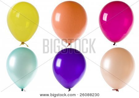 Colored balloons isolated on white