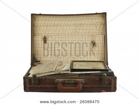 Vintage suit case isolated on white
