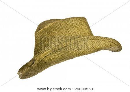 American straw worn cowboy hat