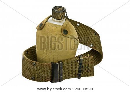 vintage Canteen and Cover with a Cartridge belt