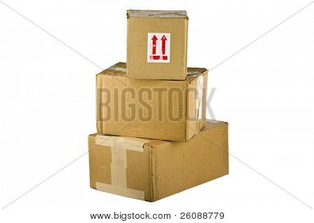 Pile of closed cardboard boxes on white background