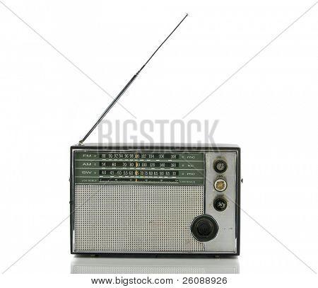 Old radio isolated on white