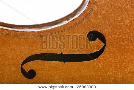 Vintage cello parts close up isolated on white