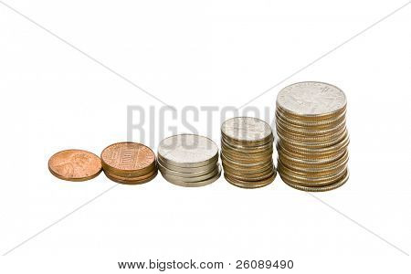Full set of american coins stacked increasing.