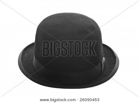 Vintage bowler hat isolated on white