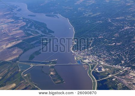 Aerial view of Alton Illinois and the clark bridge