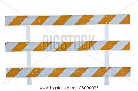 barricada de construcción sobre fondo blanco