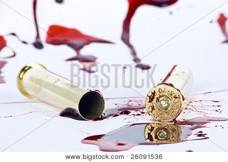 blood and crime scene concept on white