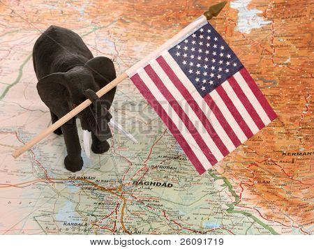 Elephant holding a US flag standing on a map of Iraq.