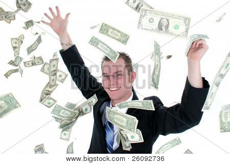 Attractive Business Man In Suit Throwing Money Into Air.