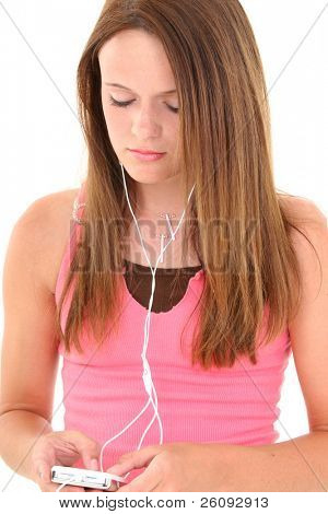 Beautiful Teen Girl Listening To Headphones.