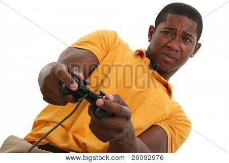 Attractive Young Man With Video Game Control Pad.  Shot in studio over white.