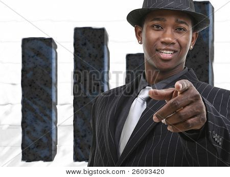 Businessman In Suit Against Bar Graph.  Blue and White Graph Background.