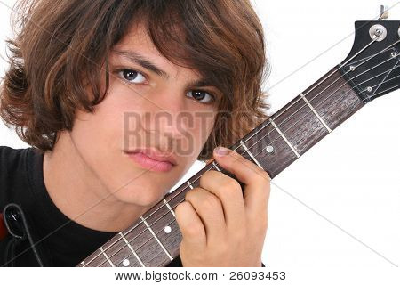 Close Up of Native American Teen Boy With Electric Bass Guitar Over White.