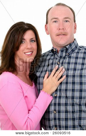 Casual portrait of man and woman smiling. Shot in studio over white.