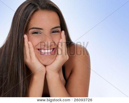 Beautiful Teen Girl With Chin in Hands. Shot in studio.