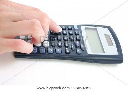Woman's manicured hand using calculator over white.