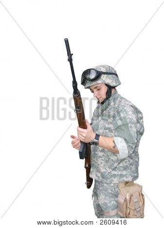Soldier Reloading His Rifle