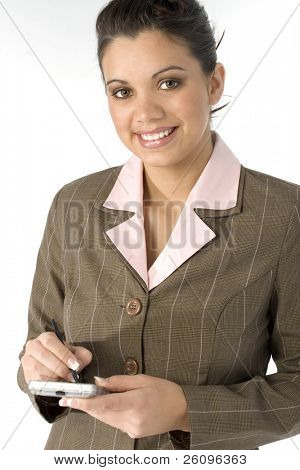 Beautiful young business woman with pda and beautiful smile.