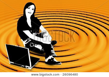 Black and white silhouette over orange with clipping path. Teen with laptop.