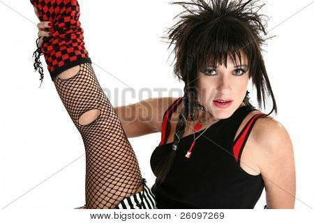Beautiful 30 year old woman in 80's Rocker Chick costume.
