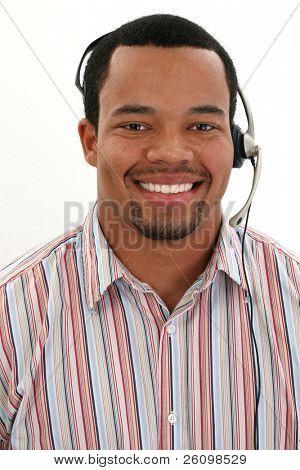 Attractive twenties African American man customer service rep.